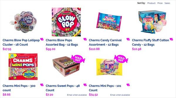 海外サイトでのCHARMSのキャンディ